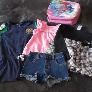 Other - Girl bundle tops, shorts and Trolls lunch box 3T